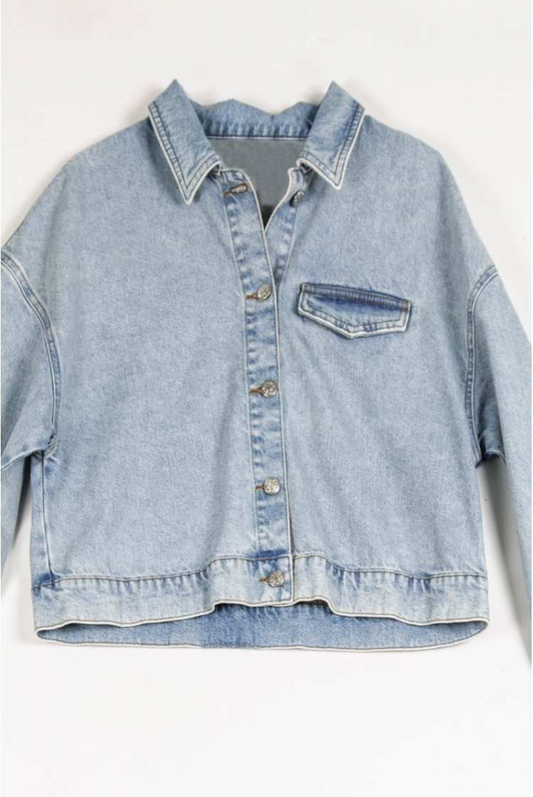 CROPPED DENIM JACKET logo