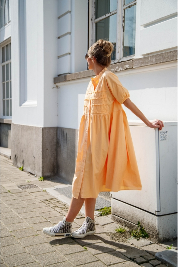 ANNA BRAIDED DRESS PEACH
