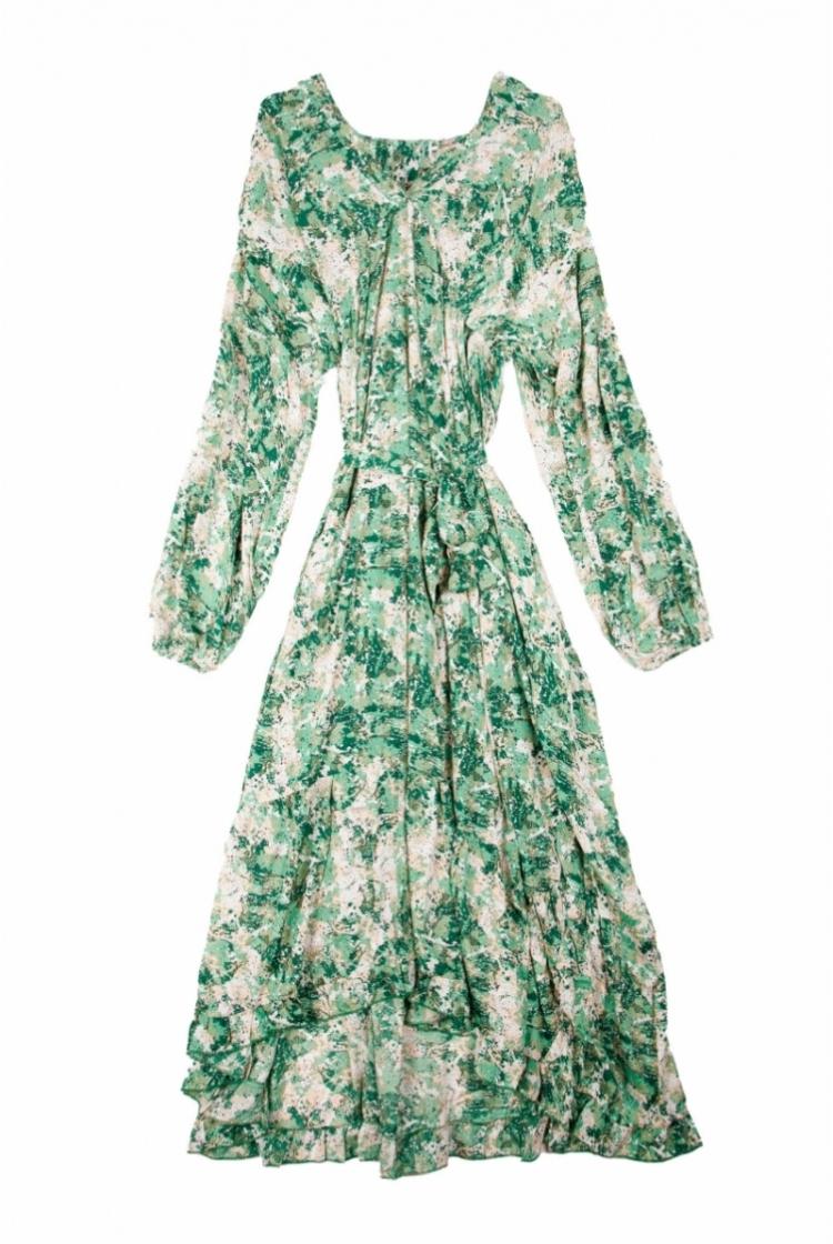 ALMA DRESS PRINT GREEN