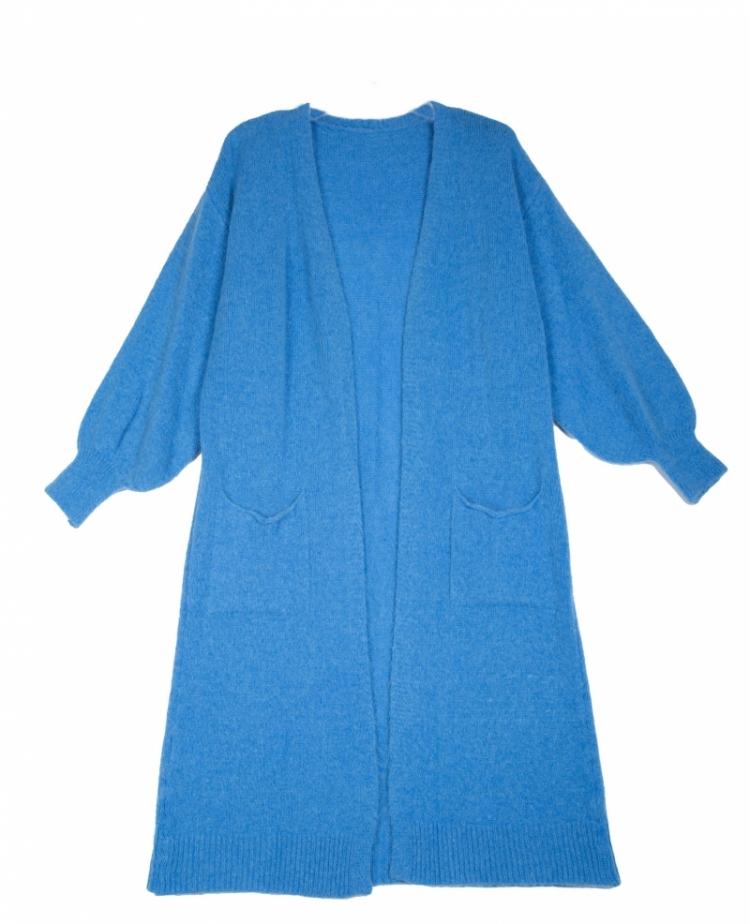 LEILA LONG KNIT POCKETS BLUE