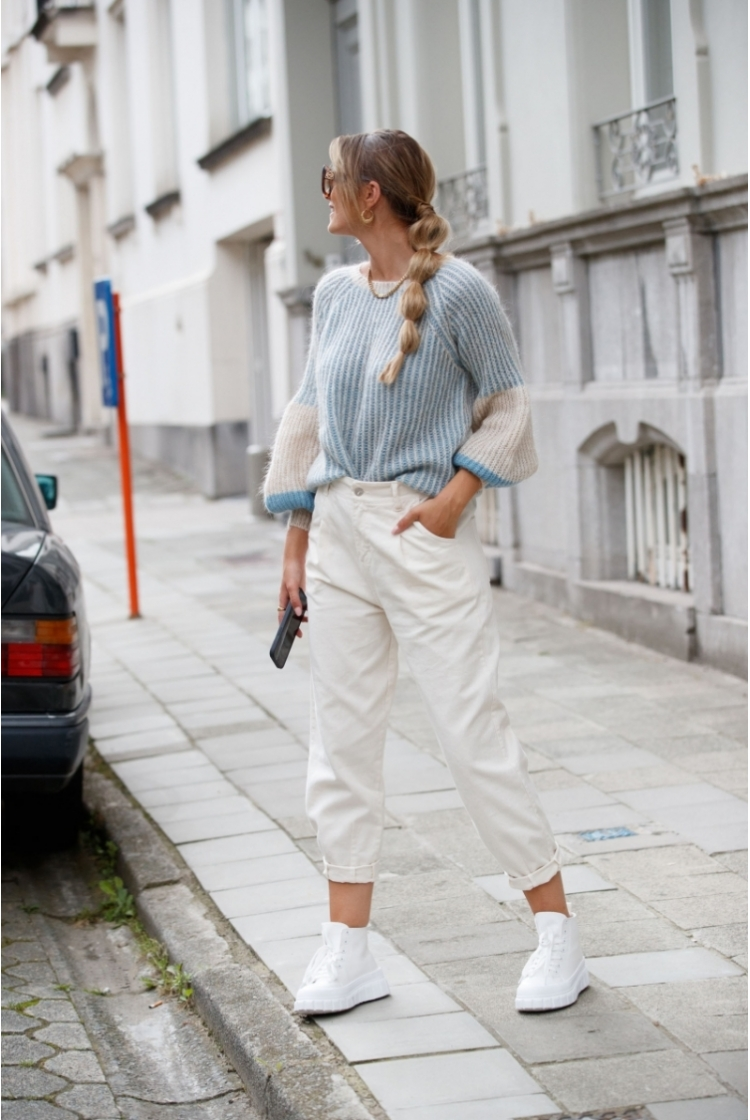 MULTICOLOR KNIT JEANS-OFF WHITE