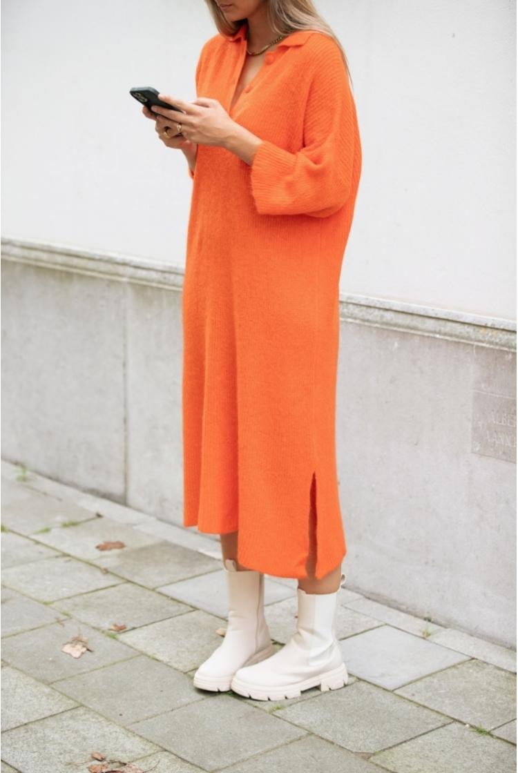 ELLE KNITTED DRESS BRIGHT ORANGE